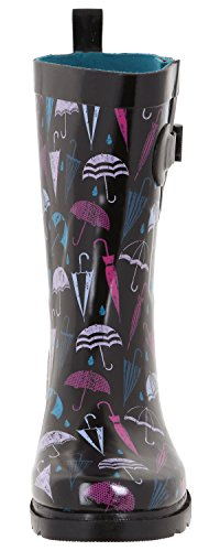 Capelli New York Damesparaplu Bedrukt Mid-calf Regenlaars Zwarte Paraplu