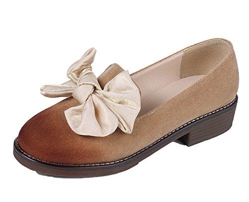 Allhqfashion Womens Frosted Pull-on Ronde-toe Neus-hakken Stevige Pumps-schoenen Kameel