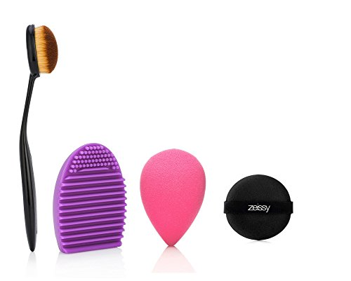 Three In One MakeUp Brush Set. (1) Oval Foundation Brush, (1) MakeUp Washing Cleaning Scrubber Board and (1) Makeup Sponge Puff. Flawless Coverage Of Your Favorite Foundation, 100% Guaranteed by Zeissy