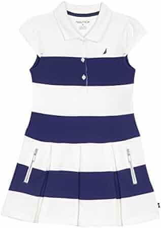 Nautica Girls' Solid Stripe Pique Dress