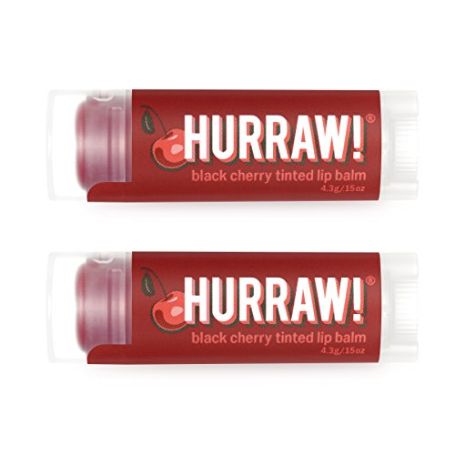 HURRAW! Black Cherry Tinted (2 Pack) Lip Balm: Organic, Certified Vegan, Certified Cruelty Free, Non-GMO, Gluten Free, All Natural – Luxury Lip Balm Made in The USA – Black Cherry Tinted (2 Pack) (Balm Tinted Lip Natural)