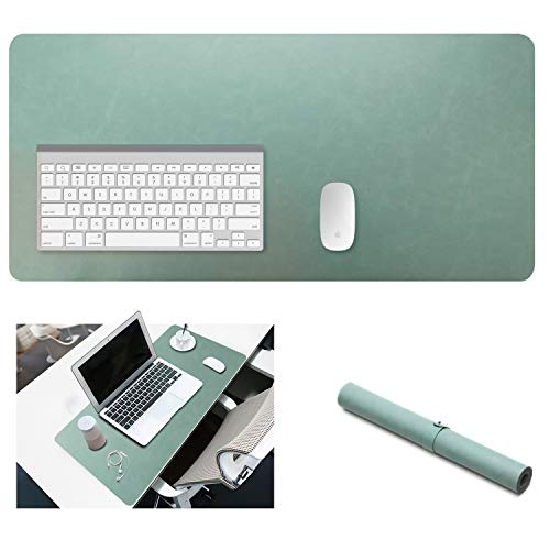 Yikda Extended Leather Gaming Mouse Pad/Mat, Large Office Writing Desk Computer Leather Mat Mousepad,Waterproof,Ultra Thin 1.2mm - 31.5x15.7 (Mint Green)