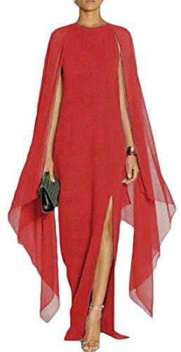 Pura Irregolare Chiffon Altalena Cromoncent Abito Colore Rosso Elegante Lungo Donne Di Partito Sottile Ax8qw5xa
