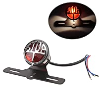 DLLL LED Halogen Rear Vintage License Plate LED Stop Tail Light for Retro Chopper/Cruiser/Dyna/Cafe Racer Project Motorbike Motorcycle With Bracket