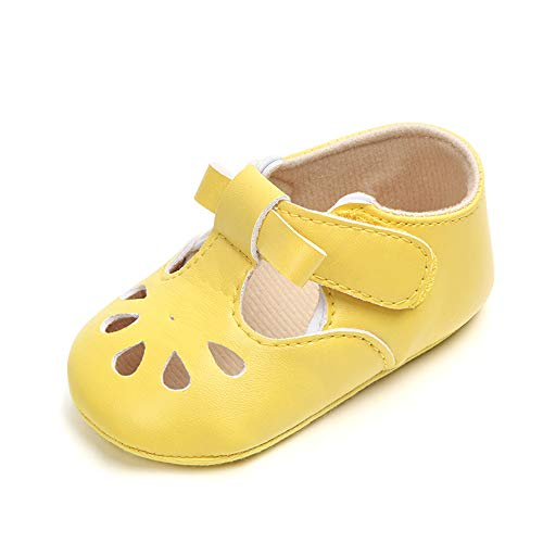 Enteer Baby Girls' Retro Leather Hollow Mary Jane Shoes Yellow US ()