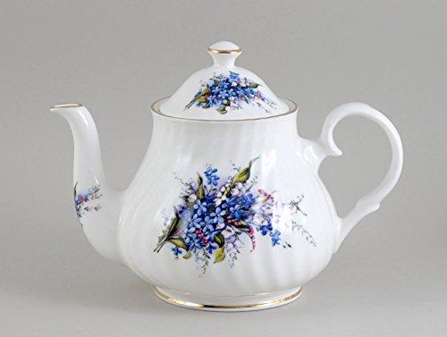 FORGET ME NOT 4 cup Teapot - Fine English Bone (Not Fine Bone China)