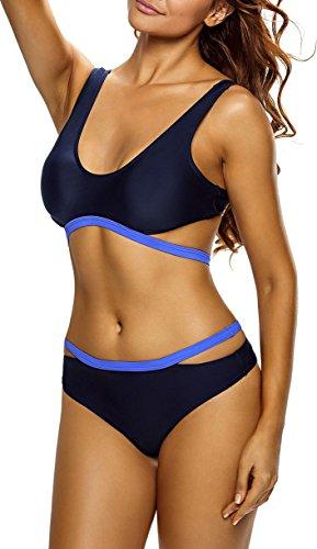 Cuscino Navy blu Bagno Del A Da Pezzi Bikini In Alta Vita Ritagli Bustier Costume Swimwear Donne Due Portante Le vSqUTT