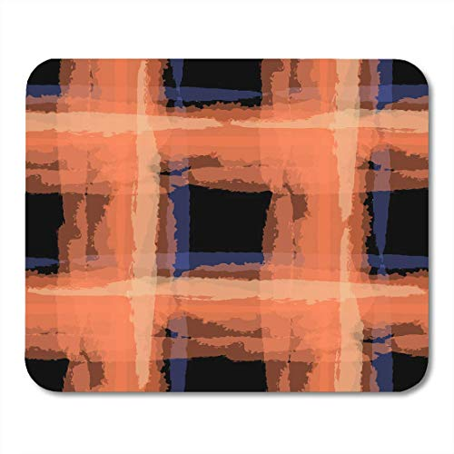 Mouse Pads Black Tartan Grunge with Hand Crossing Brush Strokes for Linen Sportswear Rustic Check Plaid Scottish Mouse Pad for notebooks,Desktop Computers mats Office Supplies