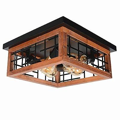 Baiwaiz Farmhouse Wood Flush Mount Ceiling Light, Black Metal Rustic Close to Ceiling Lighting Industrial Square Wire Cage Light Fixture 4 Lights Edison E26 106