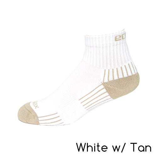 Viscose from Bamboo Women's Active Sport Quarter Socks (White with Tan) - Sports Bamboo