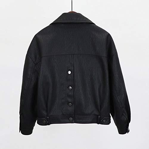 Tianbin Longues Veste Court Noir Slim En Fit Elégant Manteau Blousons Pu Jacket 3 Cuir Manches Faux Femme r64nqr