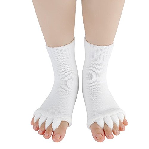 DevsWear Toe Separator Yoga Gym Sports Massage Socks Foot Alignment, Great Sore Feet Toe Spacer & Stretcher - Stretch Tendon Relieve Pain Feet (White-1Pair)