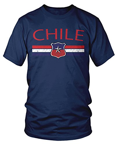- Amdesco Men's Chile Flag and Country Crest, Chilean Pride T-shirt, Navy Blue 3XL