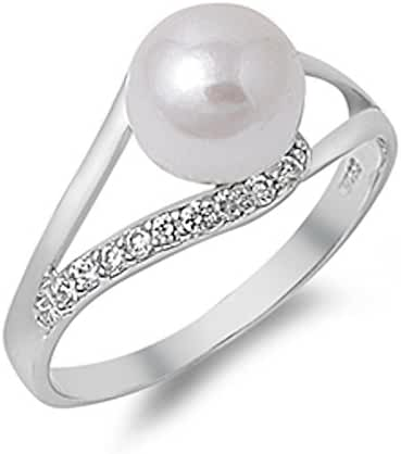 Simulated Pearl & Cubic Zirconia .925 Sterling Silver Ring Sizes 3-12