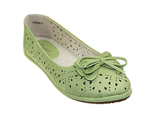 Womens Slip On Ballerinas Flats Comfort Ladies Ballet Loafers Bow Dolly Pumps Walking Shoes Size Lime dGAPIDRz