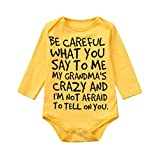 Xshuai  Baby Boys Girls Be Careful What You Say Romper Jumpsuit Long Sleeve Bodysuit (Hot Pink, 6-12 Months)