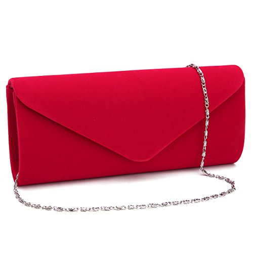 GESU Velvet Clutch Evening Bag Wedding Purse Formal Bag for Women Girl Envelope Red, small