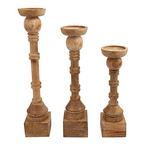 (Mud Pie Mango Wood Hand Turned Candle Stick Set of 3)