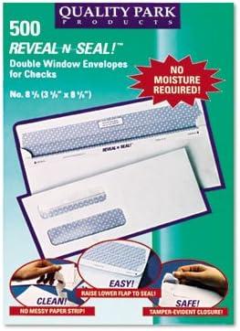500//Box Reveal N Seal 2-Window Check Envelope 3 5//8 x 8 5//8 8 5//8 White