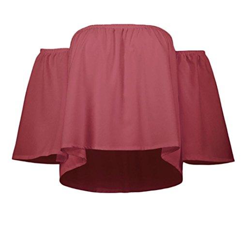 Shirt Senza Schienale Sleeveless Senza T Spalline Shirt Donna Chiffon Longra Donna Sexy Ampia Senza in Maniche Camicia Rosso Donna Chiffon Lunga Manica Canotta qxZxawTU