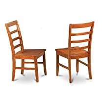 East West Furniture PFC-SBR-W Chair Set with Wood Seat, Brown Finish, Set of 2
