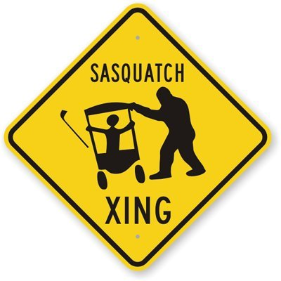 "Sasquatch Xing (With Graphic), Heavy Duty Aluminum Sign, 80 mil, 24"" x 24"""