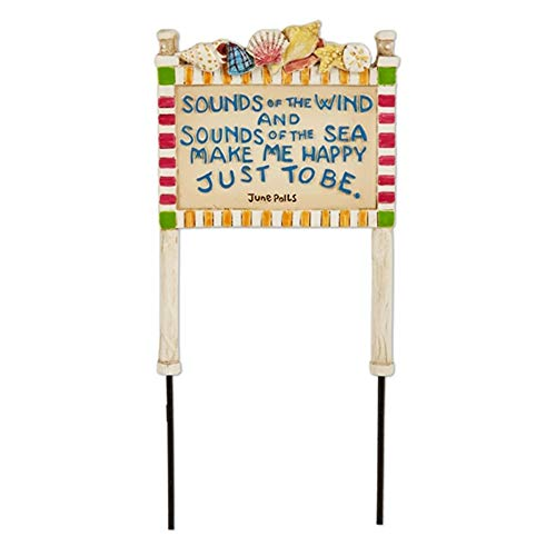 Sounds of The Wind Beach Sign for Miniature Garden, Fairy Garden (Garden Fairy Items Beach)