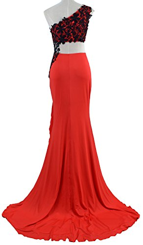 MACloth Women 2 Piece Prom Dress Lace One Shoulder Jersey Formal Evening Gown Fuchsia