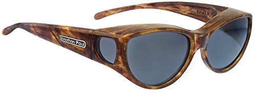 Fitovers Ikara Medium Polarized Over Sunglasses ; Tiger-Eye & Polarvue - Vs Gray Brown Sunglasses