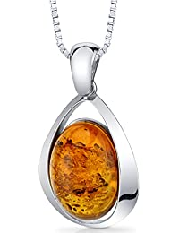 Baltic Amber Large Pendant Necklace Sterling Silver Cognac Color Oval Shape