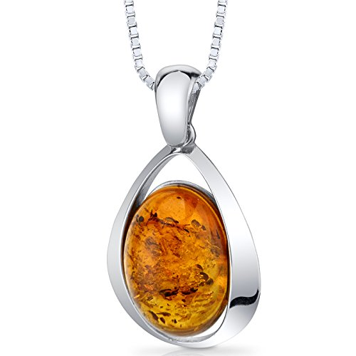 Baltic Amber Large Pendant Necklace Sterling Silver Cognac Color Oval Shape ()