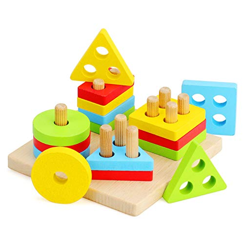 WOOD CITY Wooden Sorting & Stacking Toys Board Game