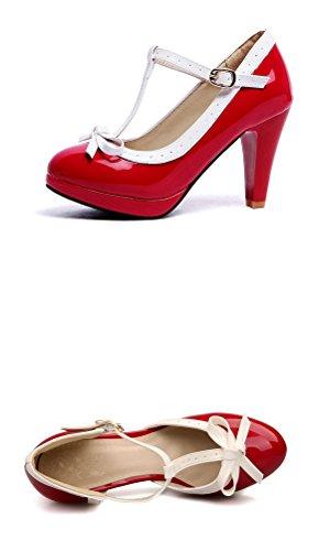 de 43 Sandalias con Color EU Charol HiTime Talla Rojo Cuña Mujer tZRwzwqx