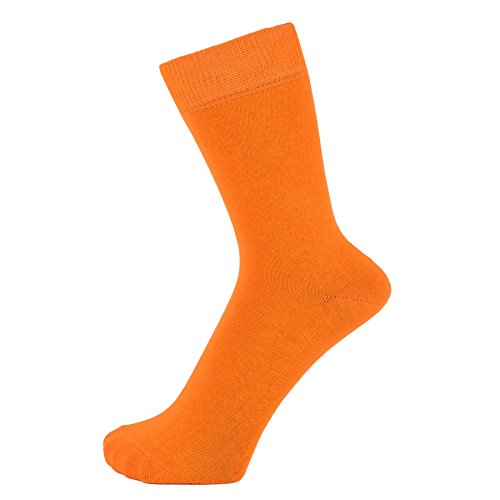 ZAKIRA Finest Combed Cotton Dress Socks in Plain Vivid Colours for Men, Women, 7-12 (US), Orange (Mens Orange Dress Socks)