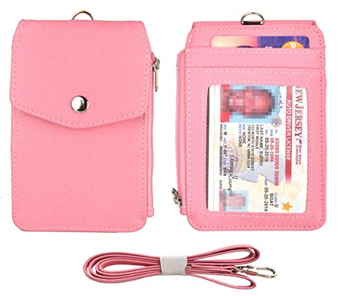 Woogwin Leather Badge Holder with Lanyard, ID Card Holder Wallet with 1 Retractable Badge Reel, 1 Side Zipper Pocket, 4 Card Slots, 1 ID Window,1 Heavy Duty Leather Lanyard (Pink)