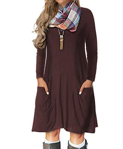 VOIANLIMO Women's Plus Size Casual Loose T Shirt Long Sleeve Mini Dress with Pockets (1X Plus, A-Brown)]()
