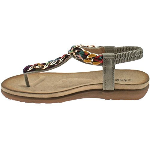 LADIES BOULEVARD METALLIC PEWTER MULTI ELASTICATED TOE POST SANDALS L9528FS KD-UK 9 (EU 42)