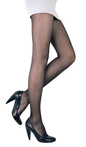 Conte elegant Perla Women's Polka Dot Pantyhose Tights 20 Denier - Black (Nero), Large