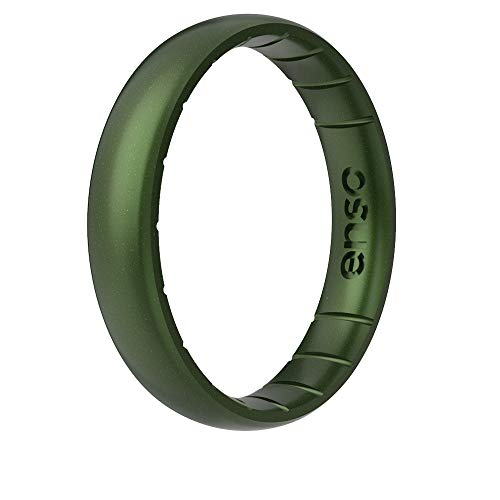 Enso Rings Thin Legend Silicone Ring - Made in The USA - an Ultra Comfortable, Breathable, and Safe Silicone Ring - Men's and Women's Silicone Wedding Ring (Loch Ness, 9)
