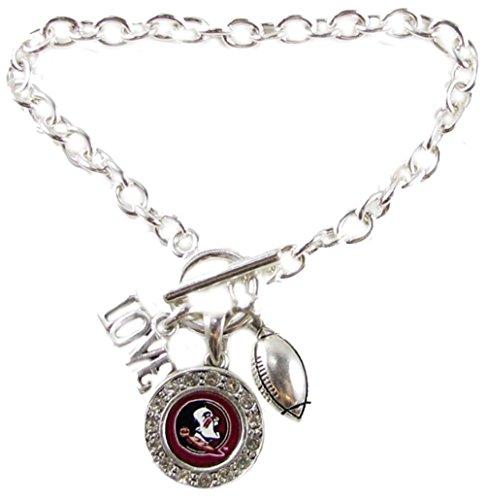 Sports Accessory Store Florida State Seminoles Multi Charm Love Football Silver Bracelet Jewelry FSU (State Seminoles Logo Charm Florida)