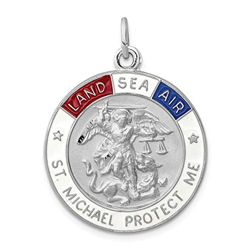 (925 Sterling Silver Enameled Saint Michael Medal Pendant Charm Necklace Religious Patron St Fine Jewelry Gifts For Women For Her)