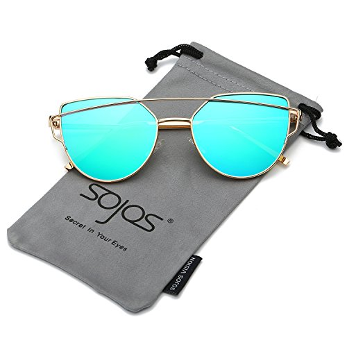 SojoS Cat Eye Mirrored Flat Lenses Street Fashion Metal Frame Women Sunglasses SJ1001 With Gold Frame/Green Lens