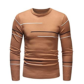 72046a9cfd925f Men s Knitted Round Collar Long Sleeve Top Sweater Pullover