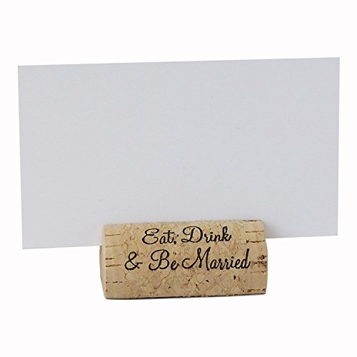 EMazing Goods Wine Cork Place Card Holders Custom Cork Card Holders Eat Drink & Be Married Set of 25 Includes Place Cards Escort Card Rustic Wine Cork Table Décor Wine Theme Wedding Cork Placecard (Cork Place Cards)