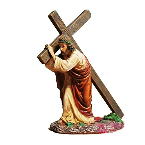 MyLifeUNIT Jesus Carrying Cross Religious Statue Figurine Christian Gift, 4.7 Inches
