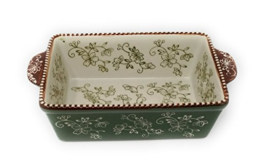 Temp-tations 1.5 Qt Loaf Pan for Meat Loafs or Breads, (Floral Lace Green) by Temptations