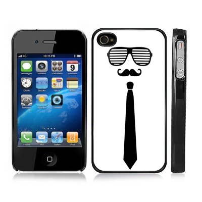 Mustache with Shutter Shades and Black Tie Snap-On iPhone Cover w/ Black Carrying Hard Plastic Case for 4/4S iPhone - Moustache - Custom Shades Shutter