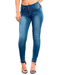 YMI Junior's Triple Button High Waisted Skinny Jean, Vintage R02, 0