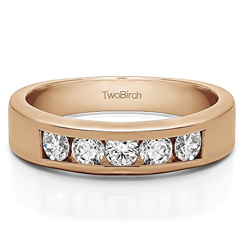 0.1Ct Five Stone Straight Channel Set Wedding band in Rose Gold Plated Sterling Silver Diamonds (G-H,I2-I3)(Size 3 to 15 in 1/4 Size Intervals) - 0.1 Ct Channel Set