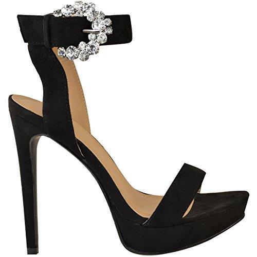 Fashion Thirsty heelberry Mujer Zapatos de Tacón Plataformas Tacones Altos pedrería Brillante Sandalias Números Negro Ante Artificial